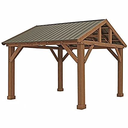 Pre Stained Premium Cedar Wood U0026 Aluminum 14u0027 X 12u0027 Outdoor Pavilion Gazebo