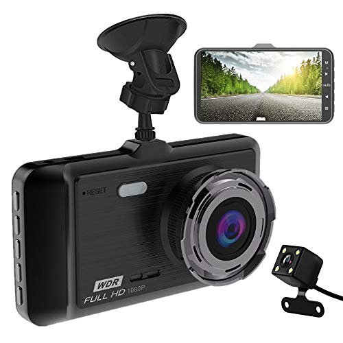 "Dash Cam, MILIEN Full HD Front and Rear Dual Dash Camera with 4"" IPS LCD Screen, 170° Wide Angle Lens Dashboard Camera with G-Sensor, Loop Recording, Rear View and Motion Detection"