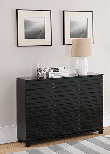 Kings Brand Furniture C1240 Wood Wave Design Console Table with Storage, Black Review