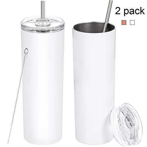 2 Pack Stainless Steel Skinny Tumbler, 20 OZ Double-Insulated Water Tumbler Cup With Lid and Straw, Outdoor Unbreakable Travel Slim Bottle for Hot Cold Drinks with Cleaning Brush(White)