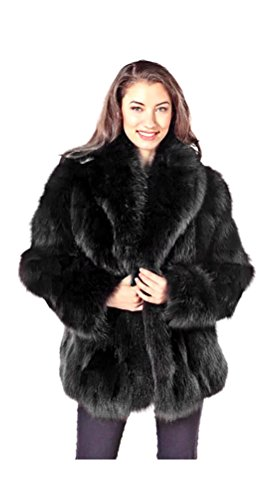 (Madison Avenue Mall Real Fox Fur Jacket For Women Black Sculptured Fox 25