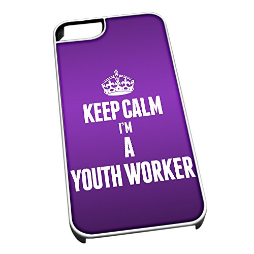 Bianco Custodia protettiva per iPhone 5/5S 2720 viola Keep Calm I m A Youth Worker