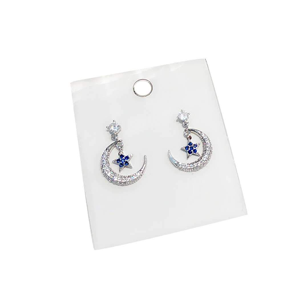 Aulley 1 Pair Lovely Girl Star Dangle Earrings Women Moon Rhinestone Party Ear Rings Vintage Ear Studs