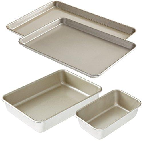 Bakeware Set - American Kitchen Nonstick Bakeware Essentials Set (4 Pieces) - Baking Sheet - Large Jelly Roll Pan - Loaf Pan - Cake Pan - PFOA-Free Nonstick Surface - Dishwasher Safe