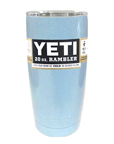 YETI Coolers Custom Color Powder Coated Insulated Stainless Steel 20 Ounce (20 oz) (20oz) Rambler Tumbler Cup Mug with Lid (Light Baby Blue Sparkle)
