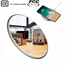 YOREN Wireless Charger Portable Charger for iPhone X iPhone 8/8 Plus, Fast Qi Wireless Charging Station for Samsung Galaxy S9 S8/S8 Plus,S7/S7 Edge,Note 8 [Mirror][Ultra Slim]