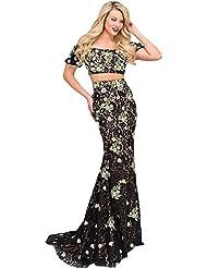 Jovani 2PC Applique Crop Top Dress