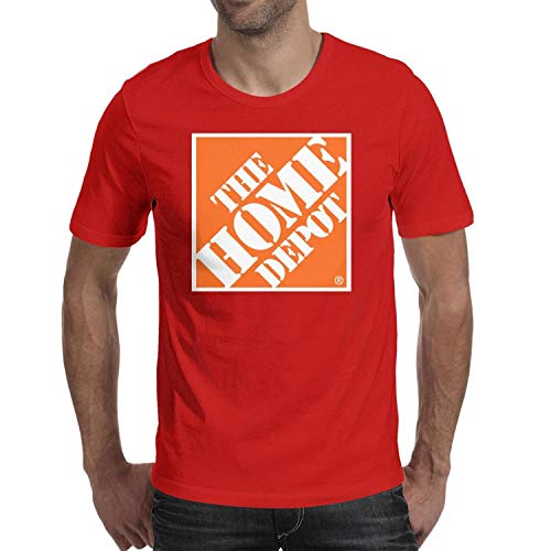 Contrast Color New Red The-Home-Depot-Orange-Symbol-Logo- Tee T Shirts for Mens