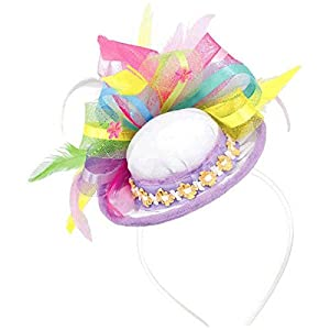 - 4189QHizwvL - Amscan Egg-stra Special Easter Feathers and Ribbons Hat Headband Party Accessory, Fabric, 9″ x 4″