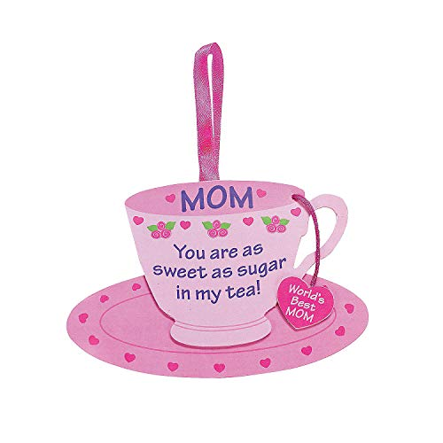 Fun Express - Mom Tea Cup Foam Ornament Craft Kit for Mother's Day - Craft Kits - Ornament Craft Kits - Foam - Mother's Day - 12 Pieces -