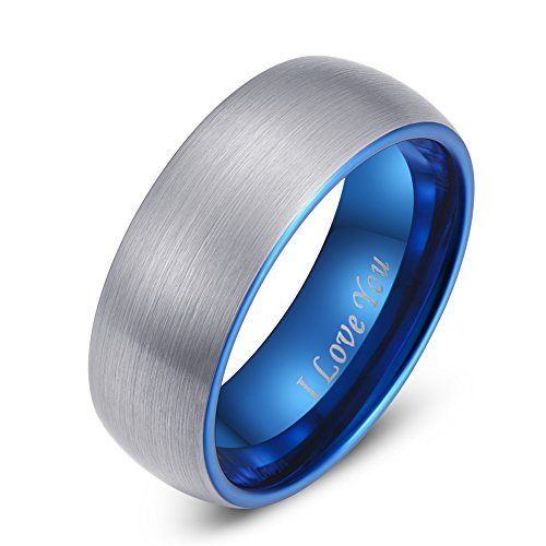 Domed Comfort Fit Wedding Ring - LaurieCinya Blue Tungsten Carbide Ring Men Women Wedding Band 8mm Domed Brushed Finish Comfort Fit 'I Love You'