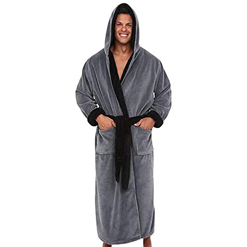 Men's Winter Lengthened Plush Shawl Bathrobe Home Clothes Long Sleeved Seamless Robe Coat (Gray, M Bust:113cm/44.5)