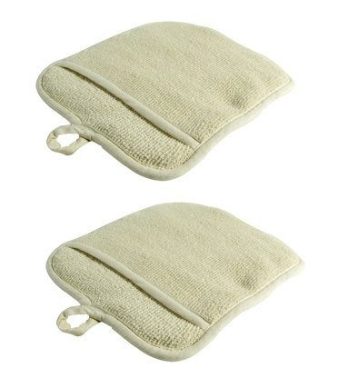 LeRose Large Terry Cloth Pot Holders w/Pocket ~ Set of 2 ~ Beige 100% Cotton Potholders, Oven Mitts, Heat-resistant to 200°, 9½ x 8½ Inches ()