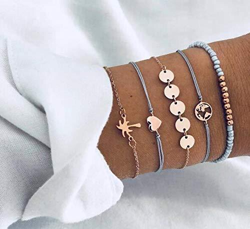 Natural Stone Link Chain Bead Bracelet Set Heart Handmade Boho Resin Adjustable Rope Bracelet for Unisex 5pcs