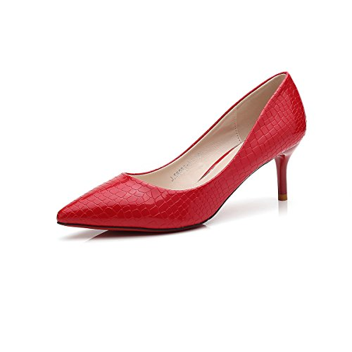 Inconnu Dames Chaussures Pompes Peau de Croco Faux PU Cuir Bout Pointe Stiletto Talon Aiguille Slip On Escarpins Élégant Féminins Confortable Antidérapant Rétro Rouge 3vqeI6Ij5