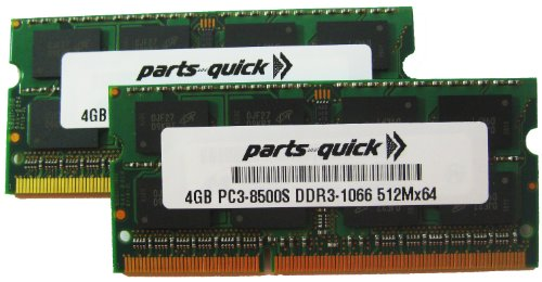 - 8GB 2X 4GB PC3-8500 1067MHz DDR3 MEMORY COMPATIBLE WITH APPLE RAM SODIMM 204pin (PARTS-QUICK BRAND)
