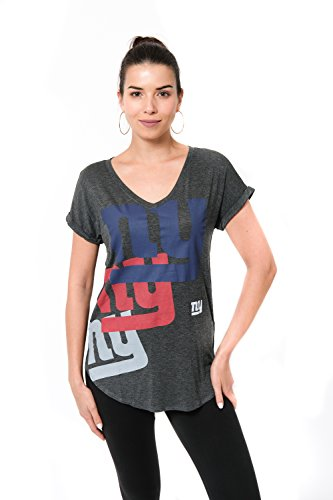 ICER Brands Adult Women T V-Neck Soft Modal Tee Shirt, Team Color, Gray, Large