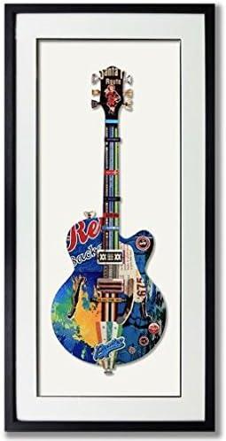 Guitarra Moderna pared arte papel 3d arte collag con negro marco ...