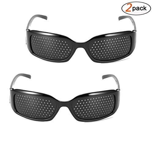 Vision Correction Glasses, DDSKY 2-Pack Eyesight Protection Glasses Eyesight Improvement Care Exercise Eyewear Glasses, Black