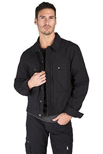 Level 7 Men's Black Heavy Wash Canvas Trucker Jacket 100% Cotton Rugged and Stylish Size L Heavy Canvas Jacket
