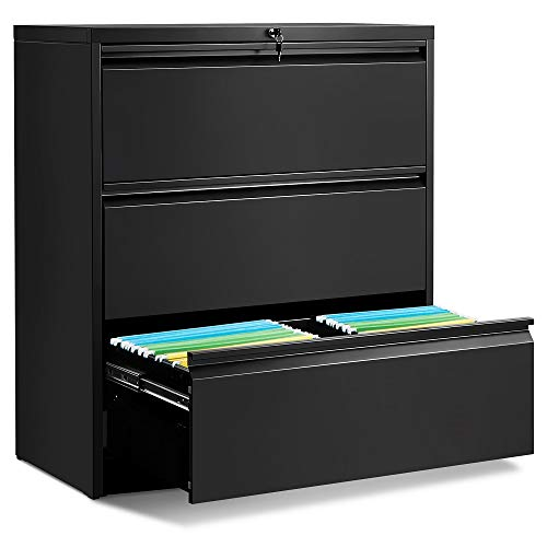 ModernLuxe Lateral File Cabinet 3-Drawer with Lock and Key (Black,) ()