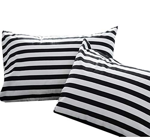 (Wellboo Black and White Striped Pillow Cases Standard Size Cotton Black White Vertical Stripes Bed Pillowcases Set of 2 Queen Kids Teen Boys Pillow Covers Decorative Envelope Closure End)