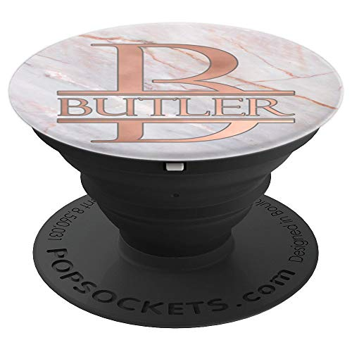 Butler Monogram Rose Pink on White PAAM191 - PopSockets Grip and Stand for Phones and ()