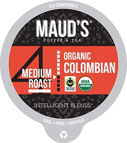 Maud's Organic Colombian Coffee (Medium Light Roast), 24ct. Recyclable Single Serve Fair-Trade Organic Single Origin Coffee Pods