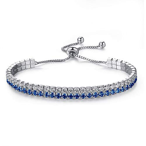 (LittiL Adjustable Women's Necklace Fashionable Jewerly Gift for Valentine's Day (White + Blue))