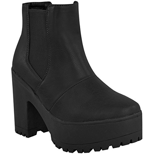 Fashion Thirsty Womens Chelsea Ankle Boots Chunky Platforms Block High Heels Slip On Size 8