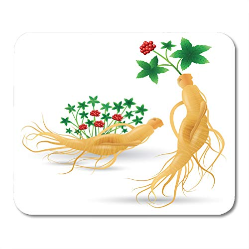 - Nakamela Mouse Pads Plant Korean Ginseng Root with Leaf and Flower White China Herbal Health Supplements Mouse mats 9.5