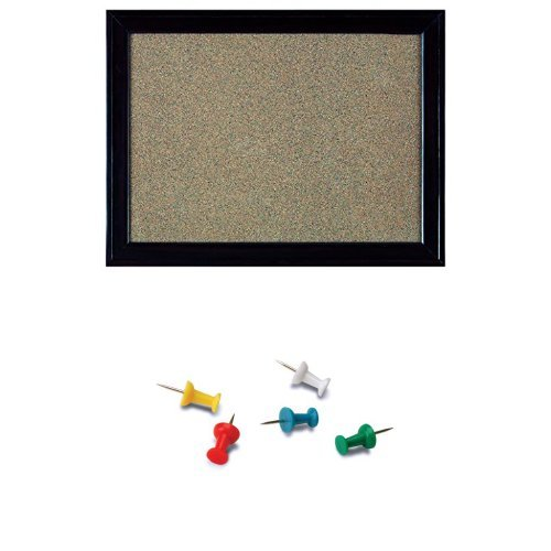 Quartet Home Decor Cork Bulletin Board, 17 inches x 23-Inches, Espresso Wood Frame (HDB1723BM) with Push Pins, 100-Count, Assorted Colours (5050571605) Assorted Colours