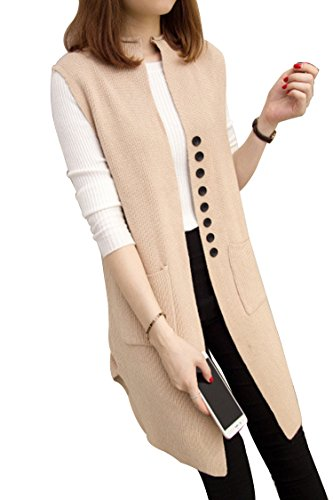 Knit Vest (Sovoyant Women Solid Sleeveless Open Front Knit Long Cardigan Jersey Vest Sweater Khaki)