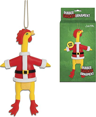Accoutrements Rubber Santa Chicken Ornament