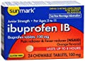 Sunmark Ibuprofen IB 100 mg Chewable Tablets - 24 ct, Pack of 3