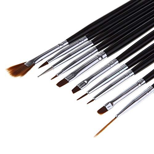 10 Pcs Dotting Drawing Painting Liner Nail Art Paint Brushes Professional Girls Fingernail Brush Pen Polish Makeup Tips Stylish Popular Artist Halloween Crystal Acrylic Glitter Gift Tools Kits ()