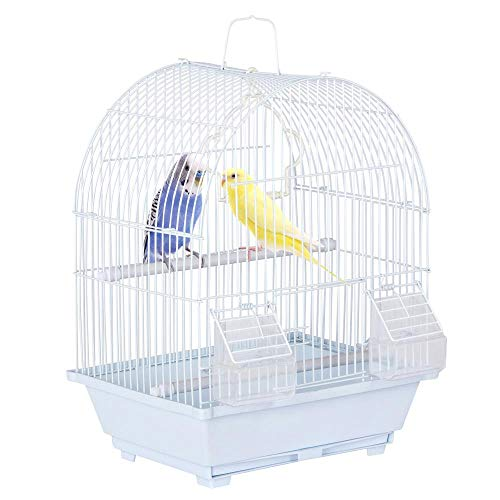 Yaheetech 15.4''H Dome Top Style Economy Small Bird Cage for Parakeet Budgie Finch Canary Travel Bird Cage w/2x Feeding Cups/Pull-Out Tray/Sturdy Handle/Plastic Swing, White