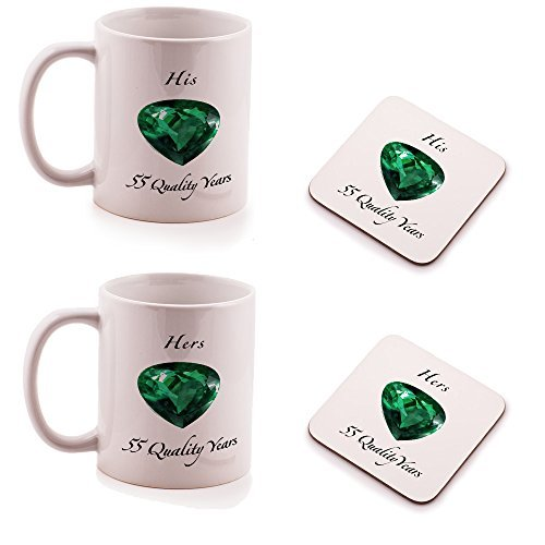 Emerald 55th Wedding Anniversary His and Hers Mug and Coasters gift set - by Ukgiftbox