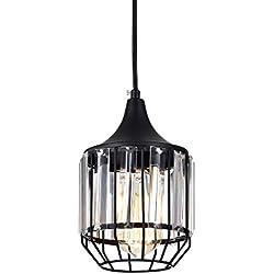 LaLuLa Black Vintage Pendant Lighting Mini Crystal Chandeliers Kitchen Island Light Fixtures 1-Light 801