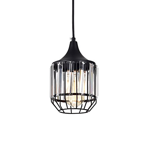 LaLuLa Pendant Lighting Black Vintage Pendant Lights Mini Crystal Chandeliers Industrial Light Fixtures for Kitchen Island 1-Light 801