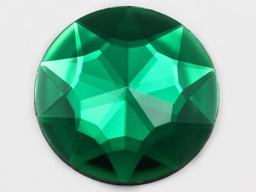 50mm Flat Back Round Acrylic Jewels Pro Grade Individually Wrapped - 4 Pieces (Green Emerald - Jewel Emerald