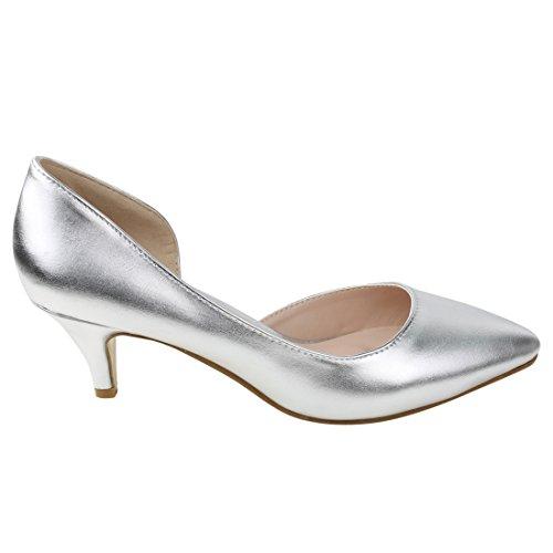 BESTON DE23 Womens Kitten Heel Pull On Dress Pumps DOrsay Run One Size Small Silver GU4Jl2