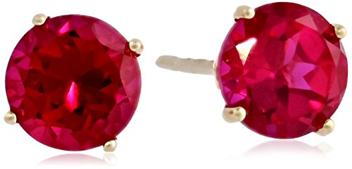 14K Yellow Gold Created Ruby Round Stud Earrings