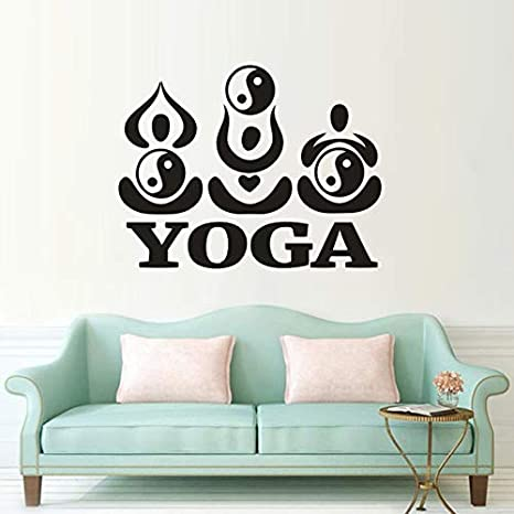 Yoga Tatuajes de Pared Yin Yang Pose de Loto Logo Etiqueta de La ...