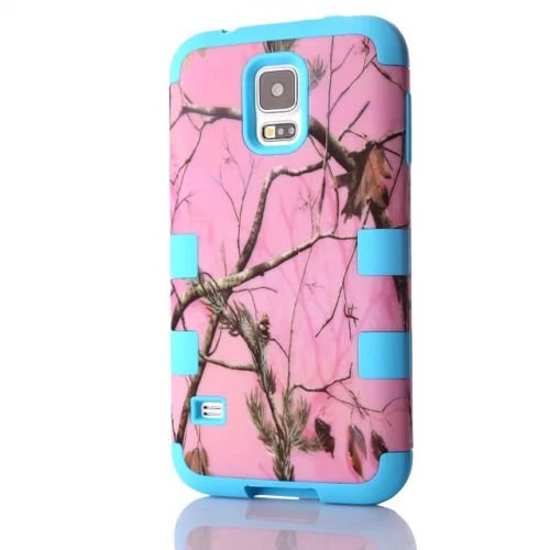 Samsung Galaxy S5 Pink Branch Camo Camouflage Armor Protection Hybrid Impact Heavy Duty Shockproof Muddy Leaf Straw Rugged Mossy Defender Girl Case [Hard PC + Soft Silicone] By Tech Express (Blue)