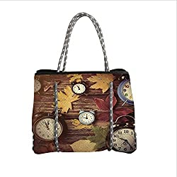 iPrint Neoprene Multipurpose Beach Bag Tote Bags,Fall Decor,Different Colored Dry Maple Leaves Various Alarm Clocks on Wooden Planks Print Decorative,Multicolor,Women Casual Handbag Tote Bags