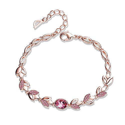CDE Women's Bracelet, Rose Gold Flower Bangle Bracelets Encounter Love Jewelry Gifts for Girls Women, Crystals from Swaovski by CDE (Image #8)