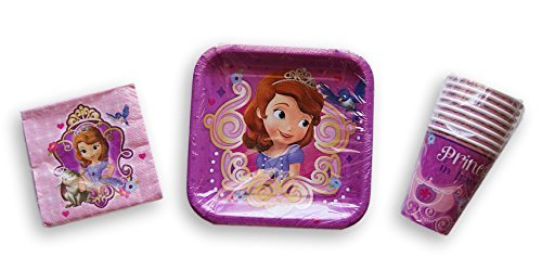 Disney Sofia the First Birthday Party Set - Plates, Napkins, (7' Square Dessert Plates)