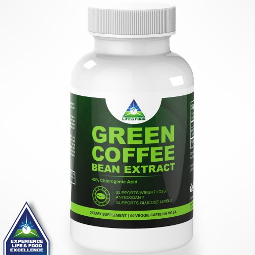 Pure Green Coffee Bean Extract 800 Mg | Most Recognized Clinically Proven Dietary Supplement using High Quality Natural Pure Vegetable Capsules Standardized to 45% Chlorogenic Acid | No Fillers or Binders