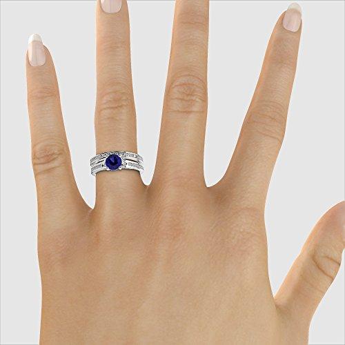 G-H/VS 1CT Coupe ronde sertie de diamants Saphir et diamants blancs et bague de fiançailles en platine 950Agdr-2047